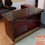 A06A045:โต๊ะผู้บริหารตัวเดี่ยว หน้าท๊อปทับกระจก Fresco 140W*70D cm