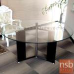 A05A133:โต๊ะกลมหน้ากระจก  ขนาด 120Di ,150Di cm.  ขาเหล็กหุ้มหนัง