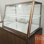 G06A075:ตู้กระจกข้าวแกงหน้าเฉียงมุมมน บานเลื่อน มีแผ่นชั้น โครงอลูมิเนียม  (3,4,5,6 ฟุต *55D*60H cm.)