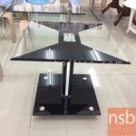 L01A107:โต๊ะกลางกระจก โครงสแตนเลสเงา 50W*50D*44H cm.