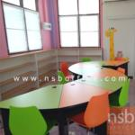 A17A035:โต๊ะโค้งห้องสมุด ขนาด 75W*80D*75H cm. เคลือบผิวเมลามีน