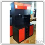 CL30417:ชุดตู้ครัวสูง 200.5H cm. รุ่น CL-30417 สีวอลนัท/ส้มเงา (มีสต๊อก 1 ใบ)