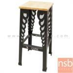 B18A059:เก้าอี้เหล็กบาร์สตูลสูง ที่นั่งไม้ รุ่น BST-100C ขาเหล็กพ่นสี ไม่มีพนักพิง