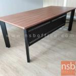 โต๊ะทำงาน  รุ่น PS-BOX-P-200W  ขนาด 200W cm. พร้อมบังโป๊เหล็ก  สีวอลนัทตัดดำ