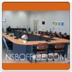 A05A020:โต๊ะประชุมกลุ่ม รูปตัวโอ 20-24 ที่นั่ง 570W*270D cm เมลามีนสีเชอร์รี่ดำ (12 ชิ้น)