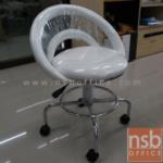 B09A104:เก้าอี้บาร์สตูลที่นั่งกลมล้อเลื่อน รุ่น SH-NO002  โช๊คแก๊ส ขาเหล็กชุบโครเมี่ยม