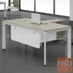 A30A023:โต๊ะผู้บริหารตัวแอล พร้อมตู้ข้าง G2008 ขนาด 180W cm. ขาเหล็กทรงทแยงมุมสีขาว
