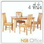 ชุดโต๊ะรับประทานอาหารหน้าโฟเมก้าลายไม้ 4 ที่นั่ง รุ่น SUNNY-9 ขนาด 120W cm. พร้อมเก้าอี้