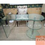 A10A059:โต๊ะทำงานหน้ากระจกดัดโค้ง รุ่น Charlotte (ชาร์ลอตต์)  ขนาด 120W*75H cm.