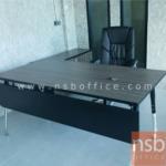 A18A058:โต๊ะทำงานผู้บริหาร ขาเหล็กปลายเรียว 180W*80D cm พร้อมแผ่นบังตา