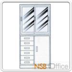 E02A043:ชุดตู้เก็บเอกสารเหล็ก 3 ฟุต บนบานเลื่อนกระจก ล่าง 6 ลิ้นชักเอนกประสงค์ พร้อมฐานรอง