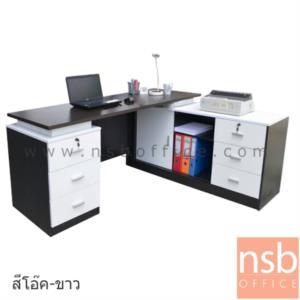 A13A036:โต๊ะทำงานตัวแอล รุ่น TIM-TV0461 ขนาด 160W*140D*75H cm. เมลามีน (พร้อมตู้ข้าง แอลขวา)