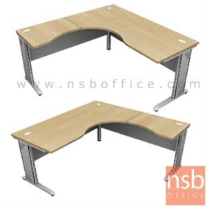 A18A019:โต๊ะทำงานตัวแอลหน้าโค้งเว้า  รุ่น Zachary (แซ็กคารี) ขนาด 160W1 ,180W1*180W2 cm.  ขาเหล็ก