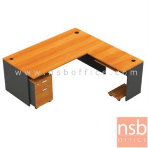 A13A001:โต๊ะผู้บริหารตัวแอล  รุ่น TY-20R ขนาด 200W cm.  พร้อมตู้ลิ้นชัก คีย์บอร์ดและที่วางซีพียู