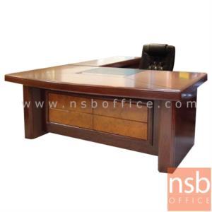 A06A054:โต๊ะผู้บริหารตัวแอล  รุ่น GD-LITTER  ขนาด 180W cm. พร้อมตู้ข้างและตู้ลิ้นชัก