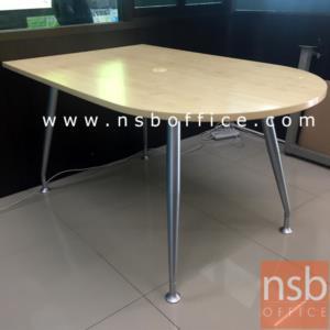 A25A011:โต๊ะเข้ามุมหัวโค้ง รุ่น VCP-672 ขนาด 150W ,180W cm.  ขาเหล็กเทาเงา