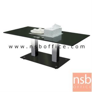 B13A192:โต๊ะกลางกระจกสีดำ  รุ่น ID-WIN ขนาด 120W cm. โครงสเตนเลสเงา