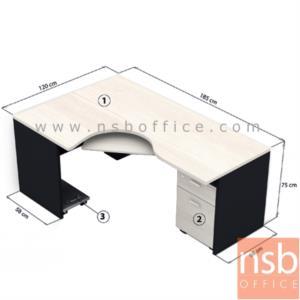 A13A002:โต๊ะผู้บริหารตัวแอลหน้าโค้งเว้า  รุ่น TY-2D ขนาด 185W1*120W2 cm. พร้อมคีย์บอร์ด ที่วางซีพียูและตู้ลิ้นชัก