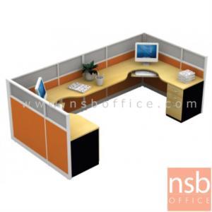 A04A043:ชุดโต๊ะทำงานกลุ่มตัวแอล 1 ที่นั่ง  รุ่น TY-220 ขนาด 330W cm. พร้อมพาร์ทิชั่น Hybrida