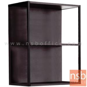 K06A001:ชั้นไม้แขวนผนังโล่ง 60W*33.5D*75H cm. โครงเหล็กพ่นดำ