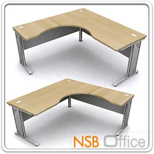 A18A019:โต๊ะทำงานตัวแอลหน้าโค้งเว้า  รุ่น DF-18 ขนาด 160W1 ,180W1*180W2 cm.  ขาเหล็ก