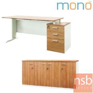 A10A060:โต๊ะทำงาน 3 ลิ้นชัก ขนาด 170W*75H cm. บังโป๊เหล็ก รุ่น MN-WS170  ขาเหล็ก