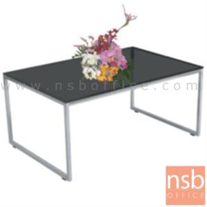 B13A056:โต๊ะกลางกระจกสีชา   ขนาด 90W cm. โครงเหล็กชุบโครเมี่ยม
