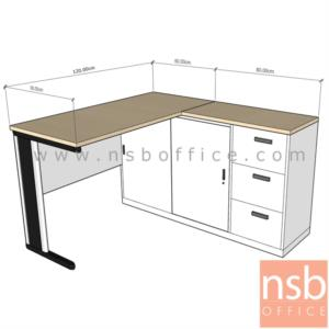A16A068:โต๊ะทำงานตัวแอล 3 ลิ้นชัก 2 บานเลื่อน รุ่น NSB-NEW ขนาด 120W1 ,135W1 ,150W1 ,180W1*140W2 cm.  ขาเหล็ก