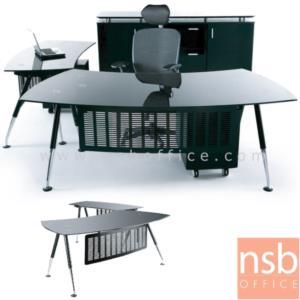 A30A004:โต๊ะผู้บริหารหน้ากระจกนิรภัยสีดำโค้ง  รุ่น MS-200EAC-G ขนาด 200W cm. พร้อมบังตาเหล็กพ่นดำ ขาเหล็กชุบโครเมี่ยม