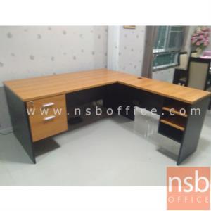 A12A036:โต๊ะทำงานตัวแอล 2 ลิ้นชัก 3 ช่องโล่ง รุ่น FD-FRESH  ขนาด 165W1*180W2 cm.  เมลามีน
