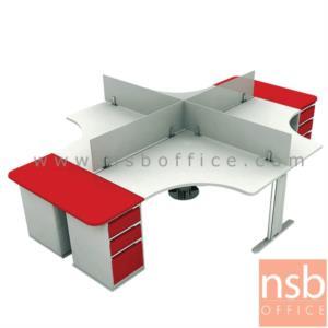 A27A004:ชุดโต๊ะทำงานกลุ่ม 4 ที่นั่ง  รุ่น TY-WS034G ขนาด 360W cm. พร้อมมินิสกรีนกระจกและตู้ 3 ลิ้นชักเหล็ก
