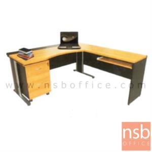 โต๊ะผู้บริหารตัวแอลหน้าโค้งเว้า รุ่น JOMA  ขนาด 180W1*160W2 cm. ขาเหล็ก สีเชอร์รี่ดำ