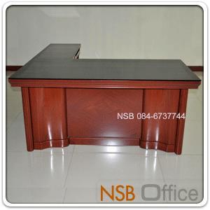 A06A083:โต๊ะบริหารตัวแอล มีกระจกหน้าโต๊ะ รุ่น FTS-FCF973  พร้อมตู้ข้าง และลิ้นชัก