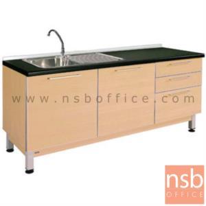 K02A003:ตู้ครัวเคาน์เตอร์สีบีทดำ 180 cm. รุ่น SR-TDK118LR  พร้อมซิงค์ล้างจาน (สำหรับครัวเปียกและครัวแห้ง)