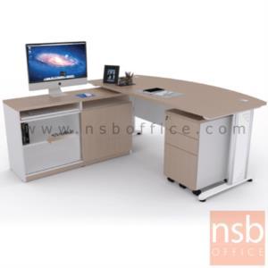 A16A075:โต๊ะผู้บริหารตัวแอล  รุ่น MN-1820 ขนาด 180W cm. พร้อมลิ้นชักและตู้ข้าง ขาเหล็ก
