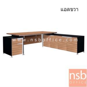 A33A013:โต๊ะผู้บริหารตัวแอล 2 ลิ้นชัก รุ่น SR-2320 ขนาด 225W cm.  พร้อมตู้ข้างลิ้นชัก สีวอลนัทตัดดำ