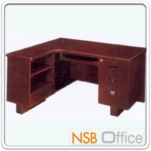 โต๊ะคอมพิวเตอร์ทรงตัวแอล 4 ลิ้นชัก  รุ่น Interest (อินเทรส) ขนาด 140W1 ,120W2 cm. ชิ้นเดียวไม่มีรอยต่อ