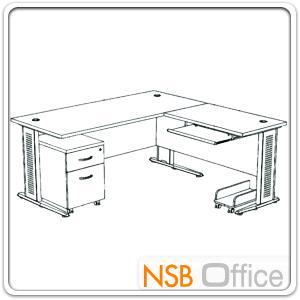 โต๊ะผู้บริหารตัวแอล  รุ่น SR-SET2  ขนาด 180W1*180W2 cm. ขาเหล็กโครเมี่ยมดำ สีเชอร์รี่ดำ