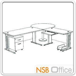 โต๊ะผู้บริหารตัวแอล  รุ่น SR-SET3  ขนาด 280W1*240W2 cm. ขาเหล็กโครเมี่ยมดำ สีเชอร์รี่-ดำ *แอลตามภาพเท่านั้น*