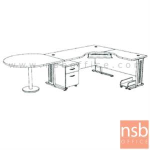 A13A032:โต๊ะผู้บริหารตัวแอลหน้าโค้งเว้า  รุ่น SR-SET5   ขนาด 300W1*180W2 cm. ขาเหล็กโครเมี่ยมดำ สีเชอร์รี่-ดำ *แอลตามภาพเท่านั้น*
