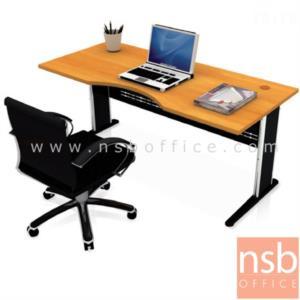 A06A038:โต๊ะผู้บริหารหน้าโค้งเว้า  รุ่น TY-1800 ขนาด 180W cm. เมลามีน ขาตัวแอลโครเมี่ยม