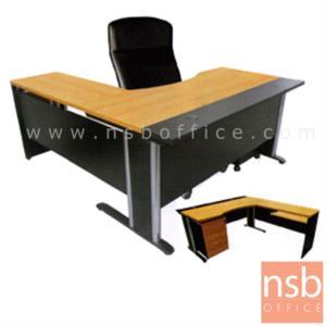 A13A012:โต๊ะผู้บริหารตัวแอลหน้าโค้งเว้า รุ่น JOMA  ขนาด 180W1*160W2 cm. ขาเหล็ก สีเชอร์รี่ดำ