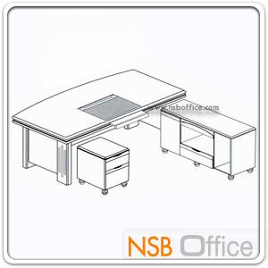โต๊ะผู้บริหารตัวแอล รุ่น Reflection (รีเฟคชั่น) ขนาด 160W cm. พร้อมตู้ลิ้นชักและตู้ข้าง
