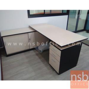 A13A051:โต๊ะผู้บริหารตัวแอล 3 ลิ้นชัก  ขนาด 180W1*175W2 cm. พร้อมตู้ข้าง