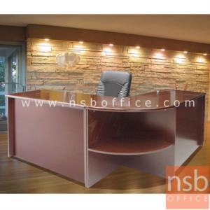 A06A036:โต๊ะผู้บริหารตัวแอล  รุ่น Merry  ขนาด 180W1*180W2 cm. พร้อมโต๊ะเข้ามุมและโต๊ะคอมพิวเตอร์