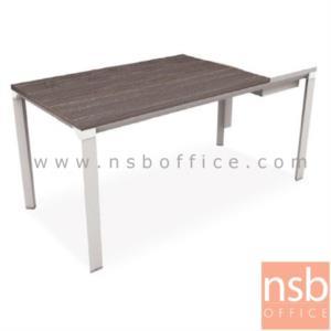 A28A001:โต๊ะผู้บริหารทรงสี่เหลี่ยมทูโทน รุ่น HB-DK02-1680  ขนาด 160W cm.  ขาเหล็กสีขาว