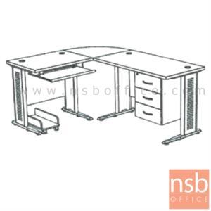 A13A028:โต๊ะผู้บริหารตัวแอลหัวโค้ง  รุ่น SR-SET1  ขนาด 180W1*140W2 cm. ขาเหล็กโครเมี่ยมดำ สีเชอร์รี่ดำ