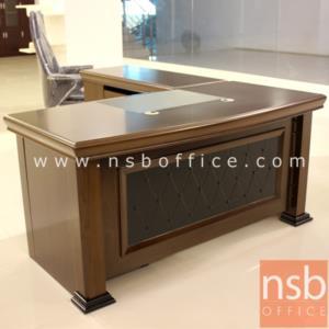 โต๊ะผู้บริหารตัวแอล  รุ่น Nermal (เนอร์มอล) ขนาด 160W ,180W cm.  พร้อมตู้ลิ้นชักและตู้ข้าง