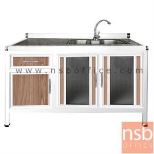 G07A131:ตู้ครัวตอนล่างอลูมิเนียมอ่างซิงค์ 1 หลุมลึก กว้าง 120 ซม