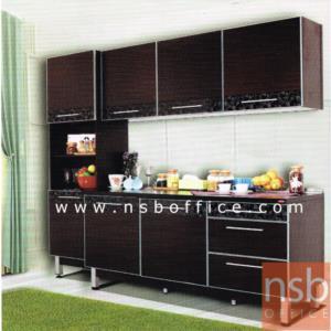 ตู้เคาน์เตอร์ กว้าง 180 ซม. TOP เมลามีนสีดำล้วน SR-TKIP-180